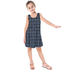 Woven1 Black Marble & Blue Denim Kids  Sleeveless Dress by trendistuff