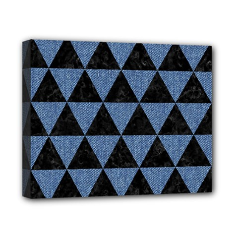 Triangle3 Black Marble & Blue Denim Canvas 10  X 8  (stretched) by trendistuff