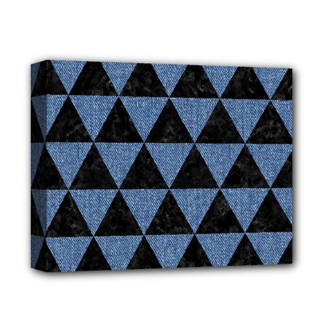 Triangle3 Black Marble & Blue Denim Deluxe Canvas 14  X 11  (stretched) by trendistuff