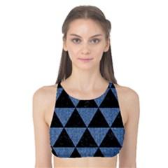 Triangle3 Black Marble & Blue Denim Tank Bikini Top by trendistuff