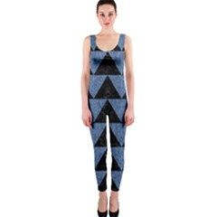Triangle2 Black Marble & Blue Denim Onepiece Catsuit by trendistuff