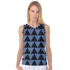 Triangle2 Black Marble & Blue Denim Women s Basketball Tank Top by trendistuff