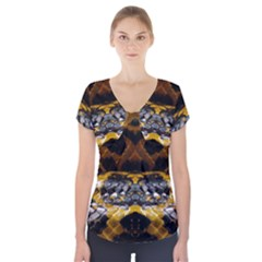 Textures Snake Skin Patterns Short Sleeve Front Detail Top by Onesevenart