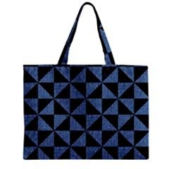 Triangle1 Black Marble & Blue Denim Zipper Mini Tote Bag by trendistuff