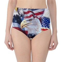 United States Of America Images Independence Day High Waist Bikini Bottoms by Onesevenart