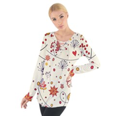 Spring Floral Pattern With Butterflies Women s Tie Up Tee