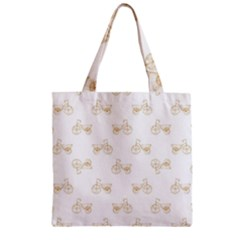 Retro Bicycles Motif Vintage Pattern Zipper Grocery Tote Bag by dflcprints