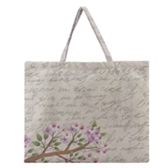 Cherry Blossom Zipper Large Tote Bag by Valentinaart