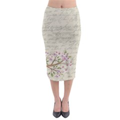 Cherry blossom Midi Pencil Skirt by Valentinaart