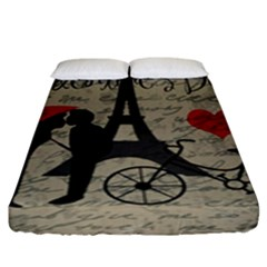 Love Letter   Paris Fitted Sheet (king Size) by Valentinaart