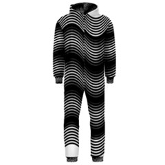 Two Layers Consisting Of Curves With Identical Inclination Patterns Hooded Jumpsuit (Men)