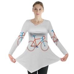 Bicycle Sports Drawing Minimalism Long Sleeve Tunic  by Simbadda