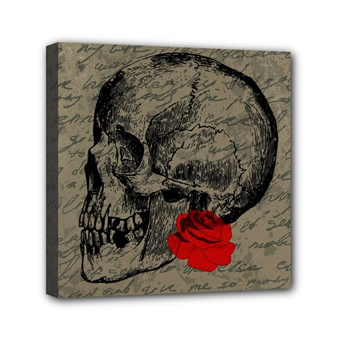 Skull And Rose  Mini Canvas 6  X 6  by Valentinaart