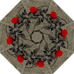 Skull And Rose  Folding Umbrellas by Valentinaart