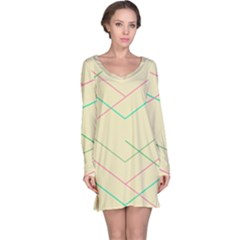 Abstract Yellow Geometric Line Pattern Long Sleeve Nightdress