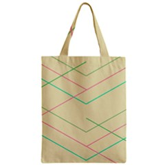 Abstract Yellow Geometric Line Pattern Zipper Classic Tote Bag