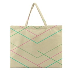 Abstract Yellow Geometric Line Pattern Zipper Large Tote Bag by Simbadda