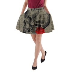 Skull And Rose  A Line Pocket Skirt by Valentinaart