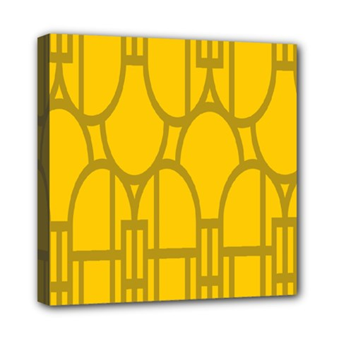 The Michigan Pattern Yellow Mini Canvas 8  X 8  by Simbadda