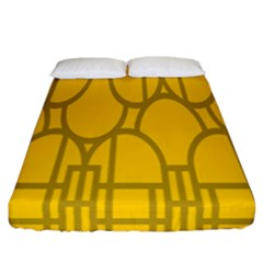 The Michigan Pattern Yellow Fitted Sheet (california King Size) by Simbadda