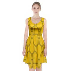 The Michigan Pattern Yellow Racerback Midi Dress