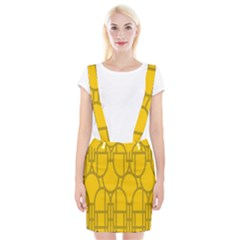 The Michigan Pattern Yellow Suspender Skirt by Simbadda