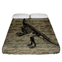 Dinosaur Skeleton Fitted Sheet (queen Size) by Valentinaart