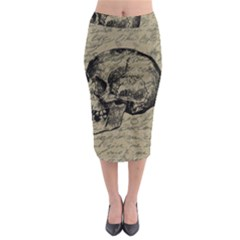 Skull Midi Pencil Skirt by Valentinaart