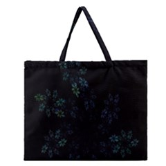 Fractal Pattern Black Background Zipper Large Tote Bag by Simbadda