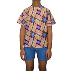 Overlaid Patterns Kids  Short Sleeve Swimwear by Simbadda