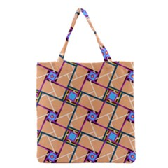 Overlaid Patterns Grocery Tote Bag by Simbadda