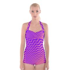 Pink And Purple Boyleg Halter Swimsuit  by Simbadda