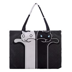 Texture Cats Black White Medium Tote Bag by Simbadda