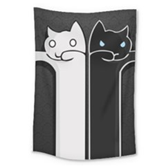 Texture Cats Black White Large Tapestry by Simbadda