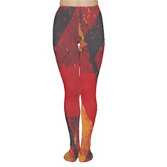 Surface Line Pattern Red Women s Tights by Simbadda