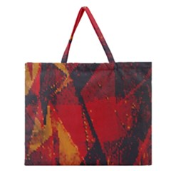 Surface Line Pattern Red Zipper Large Tote Bag by Simbadda