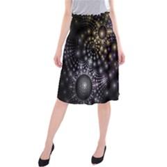 Fractal Patterns Dark Circles Midi Beach Skirt by Simbadda