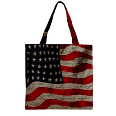 Vintage American Flag Zipper Grocery Tote Bag by Valentinaart