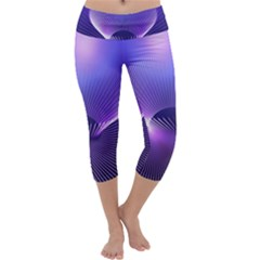 Abstract Fractal 3d Purple Artistic Pattern Line Capri Yoga Leggings by Simbadda