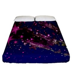 Stars Abstract Shine Spots Lines Fitted Sheet (queen Size) by Simbadda