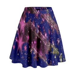 Stars Abstract Shine Spots Lines High Waist Skirt by Simbadda