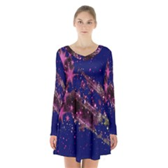 Stars Abstract Shine Spots Lines Long Sleeve Velvet V Neck Dress