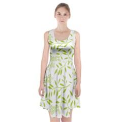 Leaves Pattern Seamless Racerback Midi Dress