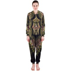 Fractal Abstract Patterns Gold Hooded Jumpsuit (ladies)
