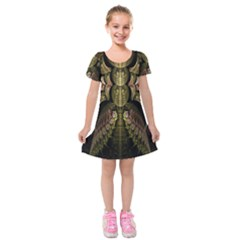 Fractal Abstract Patterns Gold Kids  Short Sleeve Velvet Dress by Simbadda