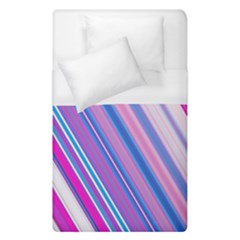 Line Obliquely Pink Duvet Cover (single Size) by Simbadda