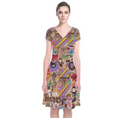 Background Images Colorful Bright Short Sleeve Front Wrap Dress