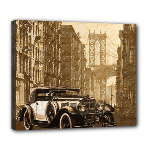 Vintage Old Car Deluxe Canvas 24  X 20   by Valentinaart