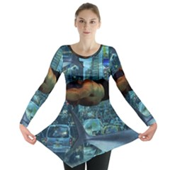 Urban Swimmers   Long Sleeve Tunic  by Valentinaart