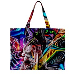 Graffiti Girl Zipper Mini Tote Bag by Valentinaart